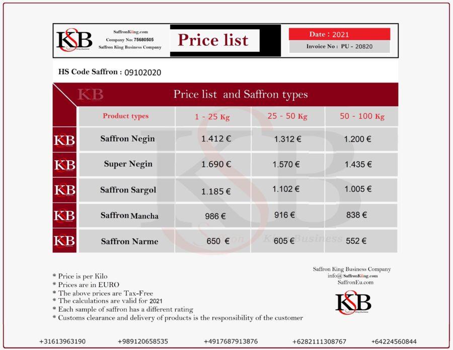 De prijs van saffraan is aangepast