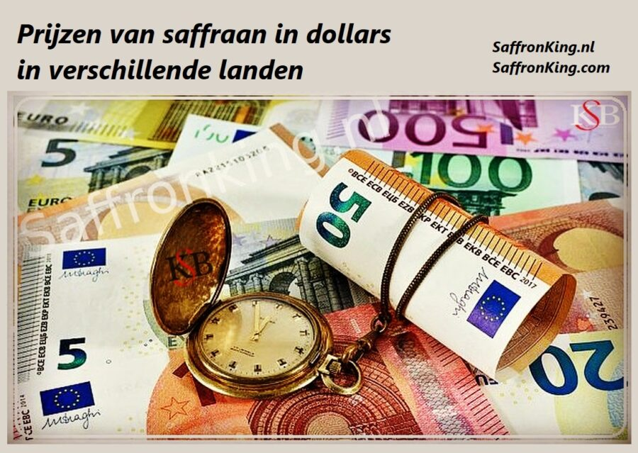 Prijzen van saffraan in dollars in verschillende landen