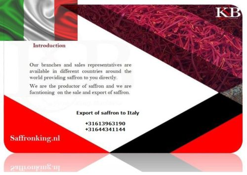 Export of saffron to Italy